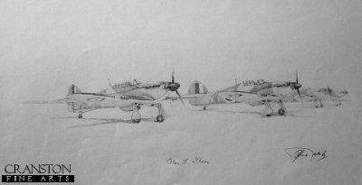 Battle of Britain - 85 Squadron Hurricanes by Graeme Lothian. (P)