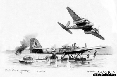 B0389P. Knockout Blow by Ivan Berryman. <p>Banff Mosquito <i>H</i> of 404 Squadron flown on its first operational mission by Flying Officer A Catrano and Flight Lieutenant A E Foord spots a German Blohm and Voss Bv138 anchored off Kjevik.  They attacked the Bv138 which blew up before going on to attack a Heinkel He115 floatplane which was in the vicinity.  This drawing shows the Mosquito making its attack on the Heinkel as the Bv138 explodes in the distance. <b><p> Signed by Flight Lieutenant Ray Harington<br>and<br> Warrant Officer Bert Winwood (deceased). <p> Original pencil drawing by Ivan Berryman.  <p> Paper size 17 inches x 12 inches (43cm x 31cm)