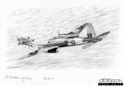 B0390P. The Mosquito&#39;s Sting by Ivan Berryman. <p>Banff Mosquito <i>H</i> of 404 Squadron flown on its first operational mission by Flying Officer A Catrano and Flight Lieutenant A E Foord spots a German Blohm and Voss Bv138 anchored off Kjevik.  They attacked the Bv138 which blew up before going on to attack a Heinkel He115 floatplane which was in the vicinity.  This drawing shows the Mosquito beginning its attack on the Bv138. <b><p> Signed by Flight Lieutenant Ray Harington<br>and<br> Warrant Officer Bert Winwood (deceased). <p> Original pencil drawing by Ivan Berryman.  <p> Paper size 17 inches x 12 inches (43cm x 31cm)