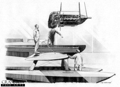 Supermarine S6.B Engine Change by Ivan Berryman. (P)