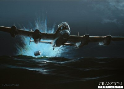 B0430PC. A Lucky Escape by Ivan Berryman. <p> Flying low across the North Sea en route to the Sorpe Dam on the night of 16th/17th May 1943 as part of Operation Chastise, Flying Officer Geoff Rice&#39;s Lancaster ED936(G) clipped a large wave, ripping the Upkeep bomb from its mountings and pitching the aircraft into the sea. Somehow, in just a split second, Rice managed to haul AJ-H back into the air, but the aircraft had ingested a huge amount of water and, as Rice put his Lancaster into a climb to head back to Scampton, rear gunner Sgt S Burns and his turret were almost swept away as the water rushed to the back of the aircraft. AJ-H returned to Scampton otherwise unscathed and took no further part in the Dams Raids. <b><p>Collector&#39;s Postcard - Restricted Initial Print Run of 100 cards.<p>Postcard size 6 inches x 4 inches (15cm x 10cm)