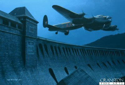 B0437. Not This Time by Ivan Berryman. <p>Having arrived at the Eder dam, following the successful breaching of the Mohne on the night of 16th/17th May 1943, Wing Commander Guy Gibson put Flight Lieutenant D J Shannon, flying ED929G, to the task of making the first attack, but he had great difficulty achieving the correct height and approach and had to make a number of abortive runs before finally releasing his Upkeep bomb. AJ-L is shown here making his penultimate pass over the Eder wall, his mine still attached. This dam was eventually breached by Pilot Officer Les Knight, flying ED912(G) whose perfectly placed mine caused a massive breach in the south end of the dam. <b><p>Signed by Squadron Leader George L. Johnson DFM. <p>Signed limited edition of 30 prints. <p>Image size 12 inches x 8 inches (31cm x 20cm)
