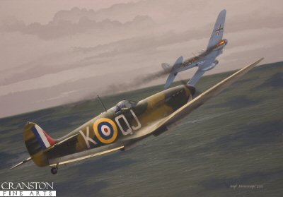With the Battle of Britain at its height and the RAF stretched to breaking point, September of 1940 was a desperate time for the young pilots who fought gallantly to defend the UK against an imminent invasion. Among those brave few was the eighteen year old Geoffrey Wellum, shown here destroying a Heinkel He.111 on 11th September in Spitfire 1a K9998. The Heinkel fought back, peppering Wellum's Spitfire with holes, but the German bomber was mortally wounded and was seen to go down in flames