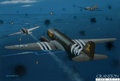 B0475. Drop Zone Ahead by Ivan Berryman. <p> Douglas C-47s of the 439th Troop Carrier Group, 94th Troop Carrier Squadron, approach the Drop Zone above Normandy on the night of 5th / 6th June 1944 at the start of Operation Overlord. <b><p>Limited edition of 30 giclee art prints.  <p> Image size 16 inches x 11 inches (41cm x 28cm)