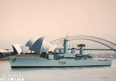 HMS Dido, F104, at Sydney by Ivan Berryman.