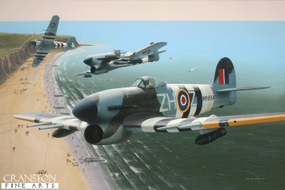 B0522D. Typhoons Over Normandy by Ivan Berryman.<p> Wing Commander J R Baldwin is depicted flying Typhoon MN934 whilst commanding 146 Wing, 84 Group operating from Needs Oar Point in 1944, en route to a bombing raid on 20th June with other Typhoons of 257 Sqn in which both ends of a railway tunnel full of German supplies were successfully sealed.  <b><p>Artists Special Reserve of 50 prints. <p>Image size 12.5 inches x 8 inches (32cm x 20cm)