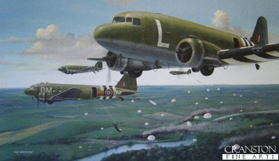 B10.  6th June 1944 (Dakotas) by Ivan Berryman. <p> As part of Operation Overlord in June 1944, it was necessary to deploy large numbers of troops quickly and accurately to the fields and bridgeheads of Northern France. No aircraft was better suited to dropping paratroopers and their equipment than the ubiquitous Douglas Dakota, these examples being of No.271 Squadron from Down Ampney near Gloucester.<b><p> Signed by <a href=signatures.php?Signature=1777>Flt Lt Bernard Hyde</a>. <p> Signed limited edition of 250 prints. <p> Image size 17 inches x 10 inches (43cm x 25cm)