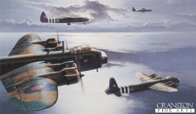 B11.  Tugs of War (Stirling & Gliders) by Ivan Berryman. <p>Wearing the distinctive black and white identification stripes of the D-Day operations of June 1944. Airspeed Horsa MkII assault gliders, towed by their Short Stirling MkIV tugs of No.620 Squadron, make their way across a moody English Channel en route for Normandy during the tumultuous Operation Overlord. <b><p> Limited edition of 250 prints, with crew signature.  <p>Image size 17 inches x 10 inches (43cm x 25cm)