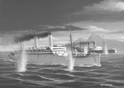 HMS Carmania sinking the German armed liner SS Cap Trafalgar off Ilha da Trindade, South Atlantic. 14th September 1914.  By Ivan Berryman.