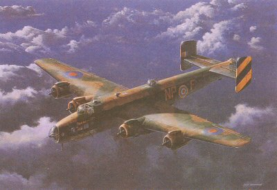 B12.  Friday the 13th by Ivan Berryman. <p> Sadly, but two examples of the Handly page Halifax exist today - the unrestored W1048 at the RAF Museum at Hendon, and the Yorkshire Air Museums pristine LV907 Friday the 13th, a rebuild from the remains of HR792. In this portrait of one of Bomber Commands oft-forgotten workhorses, the original Friday the 13th is set against a stunning evening cloudscape. <b><p> Signed limited edition of 200 prints. <p> Image size 23 inches x 14 inches (58cm x 36cm)
