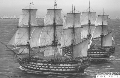 Captain Harveys HMS Temeraire tries to pass HMS Victory at the beginning of the Battle of Trafalgar by Ivan Berryman.