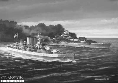 HMS Dorsetshire (The End of the Bismarck) by Ivan Berryman.