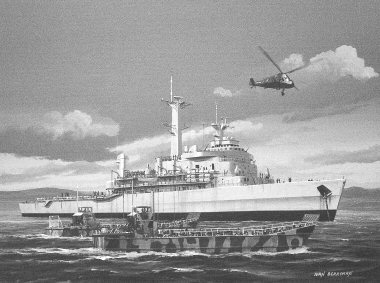 B141.  HMS Intrepid by Ivan Berryman. <p> HMS Intrepid embarks some of her landing craft during the Falklands conflict of 1982. <b><p> Signed limited edition of 1150 prints. <p> Image size 12 inches x 7 inches (31cm x 18cm)