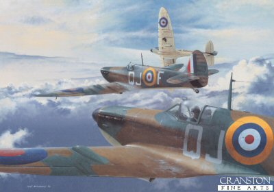B0019D. The Hunting Party by Ivan Berryman. <p> Depicting Spitfires of No.92 Squadron, which on their first mission over Dunkirk, encountered six ME109Es and succeeded in shooting down every one of them! Such actions came to symbolise the spirit of the 92nd Squadron which went on to see intense fighting during the Battle of Britain and by the end of 1940 had claimed an astonishing 127 enemy aircraft destroyed. A dramatic and unusual perspective on this classic aeroplane addition to any collection of Spitfire paintings. <b><p>Signed by Wing Commander John Freeborn DFC* (deceased) <br>and<br>Air Vice Marshal Johnnie Johnson CB, CBE, DSO**, DFC* (deceased) . <p>Johnson / Freebron signature edition of 40 prints from the limited edition of 400 prints. <p> Image size 23 inches x 14 inches (58cm x 36cm)