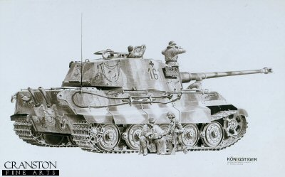 B2. Konigstiger by Randall Wilson. <p> Panzer Ampfwagen VI Ausf B. <b><p> Signed edition. <p> Image size 26.5 inches x 15.5 inches (64cm x 39cm)