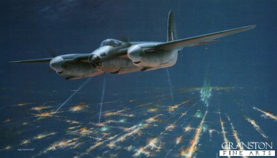 B22.  Shining the Way (Mosquito) by Ivan Berryman. <p>One of the artists most haunting paintings, a Mosquito B.IX of the Light Night Striking Force, PFF, banks away from the target zone having released a cluster of green Christmas tree marker flares to light the way for the second wave of approaching bombers. Frought with enormous difficulties and dangers, perhaps the most surprising aspect of the PFF is that it was made up almost entirely of volunteers and was widely regarded as the elite within Bomber Command. A fact made even more staggering by the slim chances of any aircrew completing the sixty sorties tour of operations that was asked of them. Nevertheless, the PFF was never short of volunteers and their dedication and courage is celebrated in this stunning print.<b><p>Signed limited edition of 600 prints. <p> Image size 23 inches x 13 inches (58cm x 33cm)
