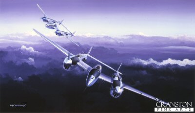 B25.  Fork Tailed Devil (Lightning) by Ivan Berryman. <p>It was during the inter-war period that a reawakening interest in twin engined fighter design prompted several countries to investigate a number of revolutionary concepts, of these only the Lockheeds sleek and unconventional P.38 was to be put into large scale production, proving to be a versatile and dominant fighter possessed of extremely long range, good speed and manoeuverability and a formidable armament. When production ceased in 1945, 9,923 examples of the P38 Lightning had been delivered.<b><p>Signed limited edition of 250 prints. <p> Image size 17 inches x 10 inches (43cm x 25cm)