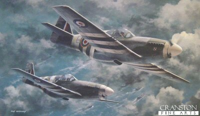 B30.  Watching Station (Mustangs) by Ivan Berryman. <p>North American Mustang IIIs of No.315 Polish Squadron Deblinski are shown over the invasion fleet heading for the D-Day landings.<b><p>Signed by Flying Officer Harry Thomas. <p> Signed limited edition of 250 prints. <p> Image size 17 inches x 10 inches (43cm x 25cm)