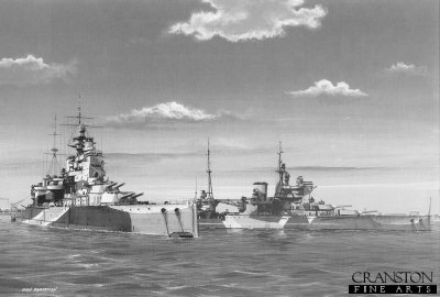 HMS Valiant and HMS Queen Elizabeth at Alexandria by Ivan Berryman.
