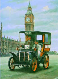 B81.  London to Brighton by Ivan Berryman. <p> Depicting a Panchard Levassor owned by Richard Shuttleworth in the 1928 race. <b><p> Signed limited edition of 250 prints.  <p>Image size 12 inches x 17 inches (31cm x 43cm)