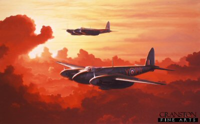 B96.  Night Raiders by Ivan Berryman. <p>A pair of De Havilland Mosquito NF. MkII night fighters of 23 Squadron, based at Bradwell Bay, Essex in 1942. <b><p> Signed limited edition of 1150 prints. <p> Image size 25 inches x 15 inches (64cm x 38cm)