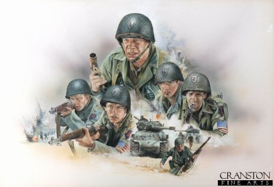 Original art for the poster of the film The Big Red One starring Lee Marvin by Chris Collingwood.