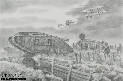 Original Pencil Sketch for Battle of Cambrai, France, 20th November 1917 by David Pentland. (P)