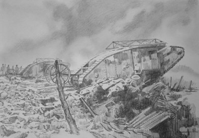 Original Pencil Sketch for Assault on Courcellette, The Somme, 15th September 1916 by David Pentland. (P)