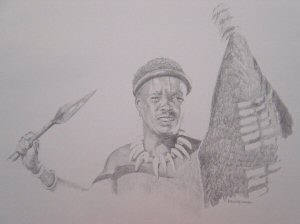 Zulu Warrior at Rorkes Drift by Chris Collingwood. (P)