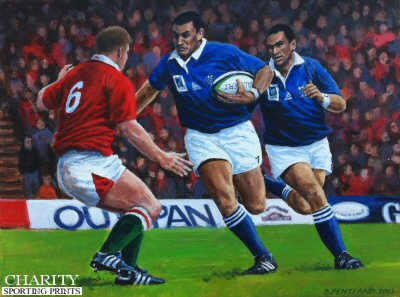 Junior Paramore playing for Samoa against Wales by David Pentland.