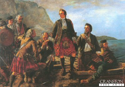 DH001.  Lochaber No More by J.B. Macdonald. <p>Depicting Bonnie Prince Charlie leaving after his defeat in the Rebellion. <b><p> Open edition print. <p> Image size 21 inches x 14 inches (53cm x 36cm)
