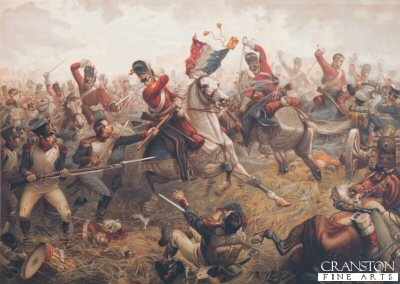P004.  Sgt Ewart Capturing the Eagle of the 45th Regiment During the Battle of Waterloo by Sullivan.  <p>Sgt Ewart is shown taking the French standard from the 45th French Infantry Regiment. Ewart cut down two French soldiers and the standard Bearer to keep hold of the Eagle and standard, he was ordered to take it to the rear. By being ordered to the rear, this probably saved his life and also the standard for the regiment, as the rest of the regiment continued charging forward to French artillery positions, much further than they should have gone, now with very tired horses and unable to rally, the Scots Greys were attacked by Farines Brigade of Cavalry (6th and 9th Cuirassiers.) and later by the 4th Lancers, very few managed to return to the British Lines.<b><p>Postcard<p> Postcard size 6 inches x 4 inches (15cm x 10cm)