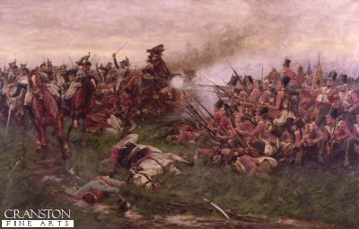 DHM016.  28th Gloucester Regiment at Waterloo by William Barnes Wollen. <p>Under the command of James Kempt and as part of the 8th Brigade (consisting of the 1/28th Reg 1/32nd Reg 79th Reg and the 1/95th regiment) the 28th Gloucester Regiment fought at Quatre Bras and at Waterloo.  The regiment distinguished itself during the battle and were mentioned in the dispatches of the Duke of Wellington.  The 28th Regiment continued to wear the old style stovepipe shako, distinguishing them from most British regiments that had adopted the new Belgic shako.  In this painting the 28th Gloucester are seen repulsing the French Cuirassiers while in a square.  During the Battle of Alexandria some 14 years earlier, the 28th Gloucester Regiment were given the unique honour of wearing a badge on both the front and rear of their head dress.  From 1751 to 1782 they were the 28th Regiment of Foot, and merged with the 61st (South Gloucestershire) regiment to form the Gloucestershire Regiment in 1881. <b><p>Open edition print. <p> Image size 30 inches x 19 inches (76cm x 48cm)