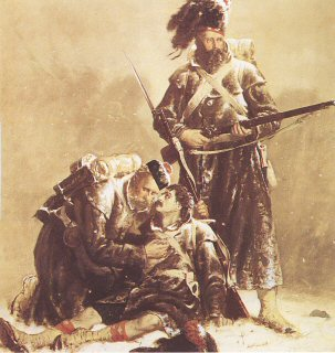 DHM017.  Comrades by Robert Gibb. <p>A dying soldier of the Black Watch is supported by his comrade, while another stands to protect them, as the ranks of the Highlanders march on, after the battles at Sebastopol during the Crimean war. <b><p>A restricted print run published in the late 1980s by permission of the Regimental Trustees of  The Black Watch. <p> Image size 21 inches x 14 inches (53cm x 36cm)