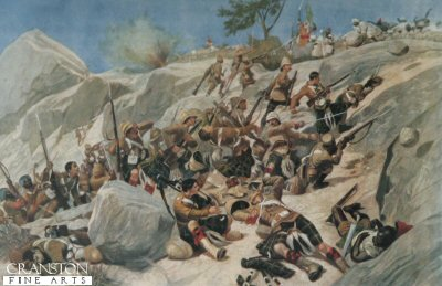 Storming of Dargai Heights by the 1st Gordon Highlanders. The Wounded Pipers Gallantry by Richard Caton Woodville.