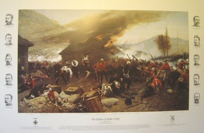 DHM202C. The Defense of Rorkes Drift by Alphonse De Neuville. <p>By about 6pm the Zulu attacks had extended all around the front of the post, and fighting raged at hand-to-hand along the mealie-bag wall. Lieutenant Chard himself took up a position on the barricade, firing over the mealie-bags with a Martini-Henry, whilst Lieutenant Bromhead directed any spare men to plug the gaps in the line. The men in the yard and on the front wall were dangerously exposed to the fire of Zulu marksmen posted in the rocky terraces on Shiyane (Oskarsberg) hill behind the post. Several men were hit, including Acting Assistant Commissary Dalton, and Corporal Allen of the 14th. Surgeon Reynolds treated the wounded as best he could despite the fire. Once the veranda at the front of the hospital had been abandoned, the Zulus had mounted a determined attack on the building itself, setting fire to the thatched roof with spears tied with burning grass. The defenders were forced to evacuate the patients room by room, eventually passing them out through a small window into the open yard. Shortly after 6pm Chard decided that the Zulu pressure was too great, and ordered a withdrawal to a barricade of biscuit boxes which had been hastily erected across the yard, from the corner of the store-house to the front mealie-bag wall. In this small compound the garrison would fight for their lives throughout most of the coming night.<p> Includes printed remarques of the two medals, plus the ten British VC winners down either side of the image.<b><p> Special edition.<p>  Image size 32 inches x 19 inches (81cm x 48cm) plus border with text and remarques.