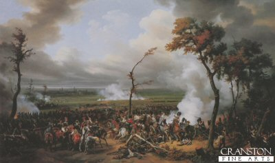 DHM040.  The Battle of Hanau by Horace Vernet. <p>The campaign of Leipzig forced Napoleon to retire to the west of the Rhine, in the course of which he defeated a force of Germans at Hanau near Frankfurt on 30th October 1813. <b><p> Open edition print. <p> Image size 30 inches x 18 inches (76cm x 46cm)