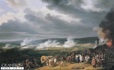 DHM042B. The Battle of Jemappes by Horace Vernet. <p>On the 6th November 1792 Dumouriez defeated the Austrians under the Duke of Saxe Teshen and Clerfayt at Jemappes, near Mons. This led to the French Occupation of Belgium. <b><p> Open edition print. <p> Image size 21 inches x 15 inches (53cm x 38cm)