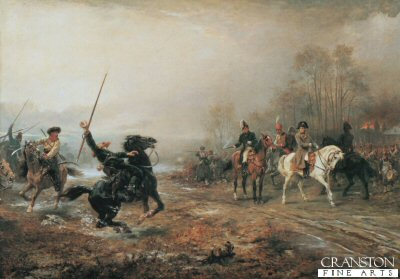 Napoleons Peril at Brienne Le Chateau by Robert Hillingford. (GS)