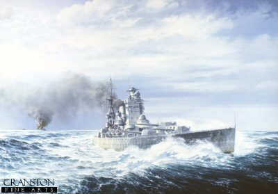 DHM569. HMS Rodney by Brian Wood. <p>  Destruction of Bismarck complete, and desperately low on fuel, Rodney turns for home 27th May 1941. <b><p> Signed limited edition of 1000 prints.  <p>Image size 24 inches x 17 inches (61cm x 43cm)