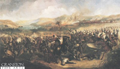 DHM060. Battle of Ulundi by Fayel <p> The two forces meet on 4th July 1879 at Ulundi. Several thousand Zulus surrounded the British infantry which formed a square with the 17th Lancers at its centre. When the Zulus attack faltered the 17th Lancers were ordered to charge. Reproduced by Permission of the 17th/21st Lancers.  <b><p> Open edition print.  <p>Image size 21 inches x 14 inches (53cm x 36cm)