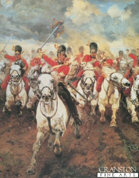 DHM066.  Scotland Forever detail by Lady Elizabeth Butler. <p>Centre detail from the painting Scotland Forever showing the charge of the Scots Greys at Waterloo. <b><p> Open edition print. <p> Image size 15 inches x 21 inches (38cm x 53cm)