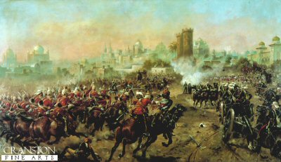 DHM075.  Charge of the Queens Bays by Harry Payne. <p>This dynamic picture shows the cavalry charge at the relief of Lucknow, 1859, during the Indian Mutiny. <b><p> Open edition print. <p> Image size 21 inches x 13 inches (53cm x 33cm)