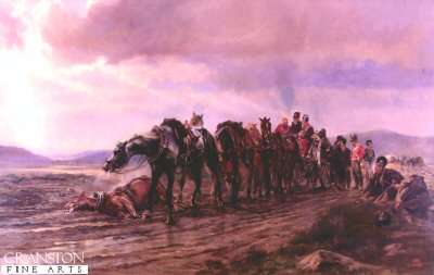 DHM078.  Halt on a Forced March by Lady Elizabeth Butler. <p>The painting shows a gun team of the Royal Horse Artillery with wounded soldiers on the Limber during the retreat to Corunna in the winter of 1808-1809, during the Peninsula War. <b><p> Open edition print. <p> Image size 30 inches x 20 inches (76cm x 51cm)