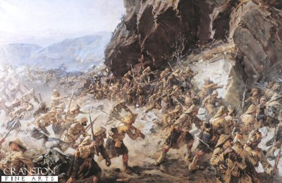 DHM079B.  Dargai by Robert Gibb. <p>The 1st Gordon Highlanders about to take the heights of Dargai which were held by the Afridis. During the engagement on the 20th October 1897, the regiment lost three Officers and thirty men. <b><p> Open edition print. <p> Image size 21 inches x 14 inches (53cm x 36cm)