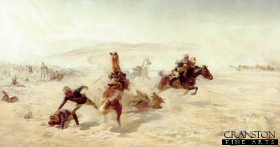 DHM081. Rescue of the Wounded by Lady Elizabeth Butler. <p> Probably depicts the rescue of gunners of the Royal Horse artillery (C-Battery) during the retreat from the battle of Maiwand. <b><p> Open edition print. <p> Image size 30 inches x 14 inches (76cm x 36cm)