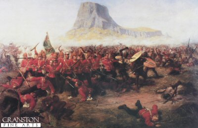 DHM1111. Battle of Isandhlwana by Charles Fripp. (B) <p>On the 11th January 1879, a British Force under the command of Lord Chelmsford crossed the Buffalo River into Zululand.  A small garrison was left at Rorkes Drift.  The force consisted of 1600 British troops, mainly from the 1st and 2nd Battalions 24th Regiment, and 2500 native soldiers.  A tented camp was established at Isandhlwana Hill.  At 4am on the morning of 22nd January, Lord Chelmsford took half his force to reconnoitre to southeast in search of main Zulu army.  Just after 8am a force of 25000 Zulu warriors attacked the remainder of the force in the camp.  Surprised, outnumbered by more than six to one, in a position offering little defence, the defenders were soon overpowered and a dreadful slaughter ensued.  A few men escaped and re-crossed the Buffalo River to safety.  Victoria Crosses were awarded to Lieutenants Melvill and Coghill, who saved the Queens Colour of the 1st/24th and to Private Wassell, 90th Foot, who saved a comrade while escaping across the Buffalo River. <b><p> Open edition print. Printed with 150 text and images of the VC and DCM <p> Image size 25 inches x 15 inches (64cm x 38cm)