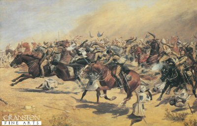 DHM087.  Charge of the 21st lancers by C D Rowlandson. <p>Another view of the Charge through  the 1,000s of dervishes, note the Dervishes attempts to bring down the horses by hacking at there rear legs. <b><p> Restricted to 1000 prints. <p> Image size 23 inches x 14 inches (58cm x 36cm)