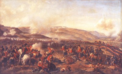 DHM090.  The Battle of Alma by Felix Philippoteaux. <p>The Black Watch is shown with the Coldstream Guards and Scots Guards in the distance advancing up from the river Alma to attack the Russian forces at the top of the surrounding hills. <b><p> Open edition print. <p> Image size 30 inches x 18 inches (76cm x 46cm)