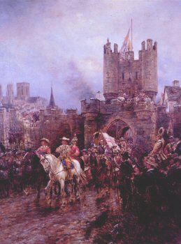 DHM094B.  The Surrender of York to the Roundheads, by Ernest Crofts. <p>After Oliver Cromwells success  at the Battle fo Marston Moor, York surrendered to the Parliamentarians, which gave them control over the North.<b><p>Open edition print. <p> Image size 8 inches x 12 inches (20cm x 31cm)